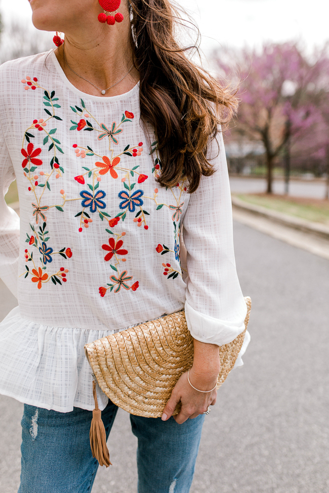 Floral embroidered top outfit idea via Peaches In A Pod blog.