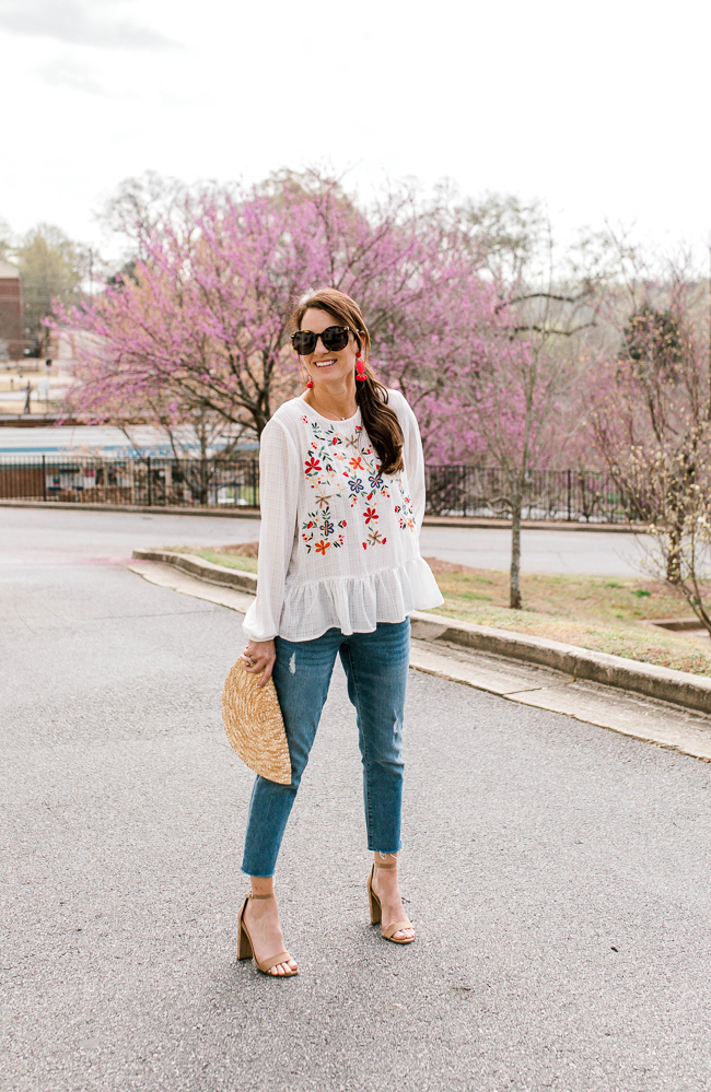 How to style an embroidered top for Spring via Peaches In A Pod blog.