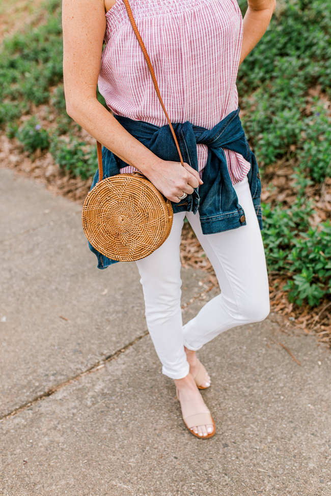 The circle bag that you need in your closet for Spring and Summer via Peaches In A Pod blog.