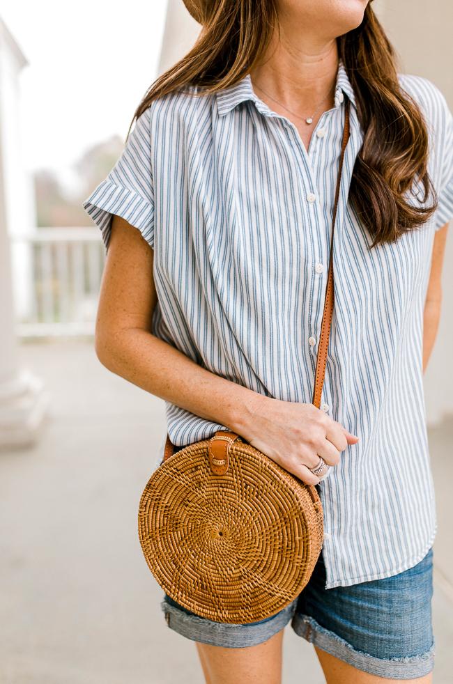 Straw circle bag via Peaches In A Pod blog. The handbag of the season is the circle tote.