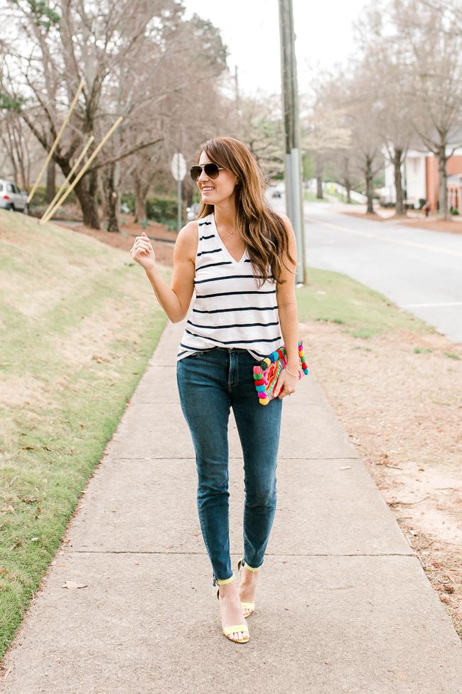 Striped tank outfit idea for women via Peaches In A Pod blog.