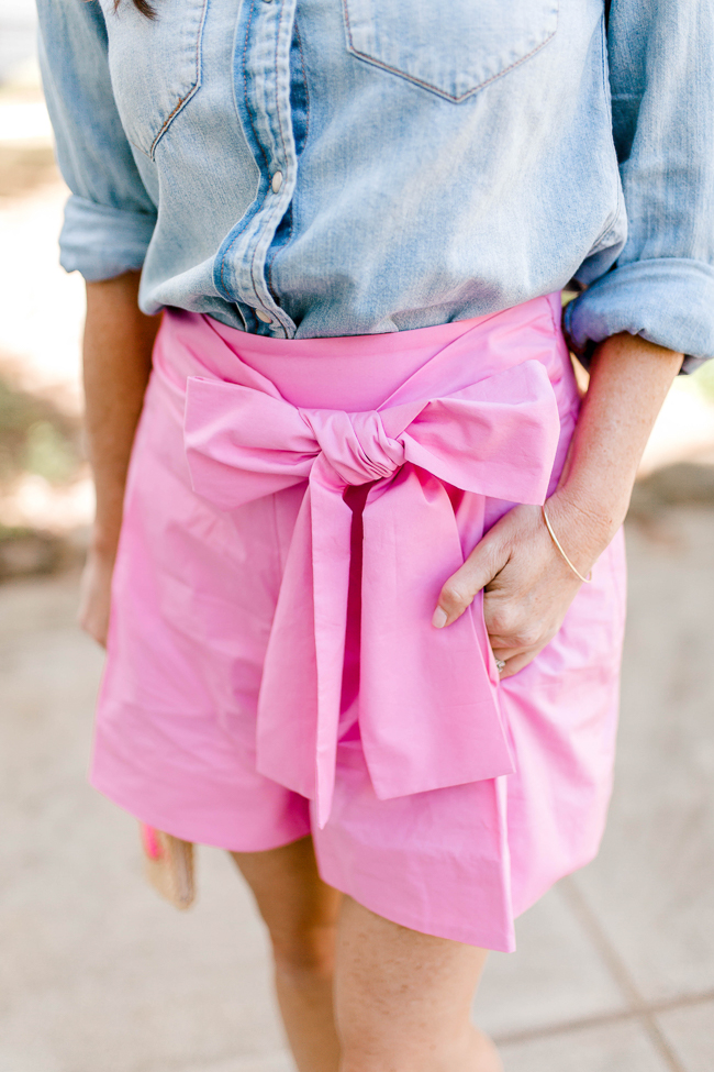 J. Crew Factory bow front shorts for summer via Peaches In A Pod blog.