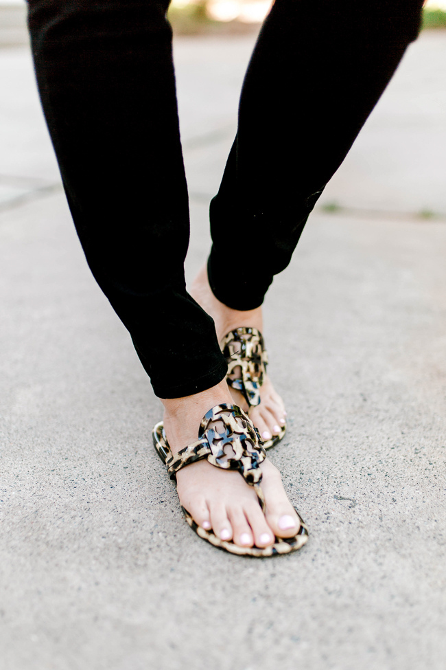 Tory Burch leopard sandals via Peaches In A Pod blog.