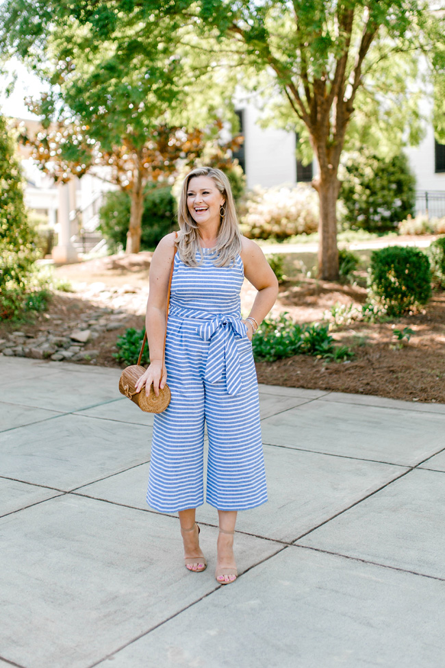How to style a cute striped jumpsuit for Summer that is perfect for any occasion.
