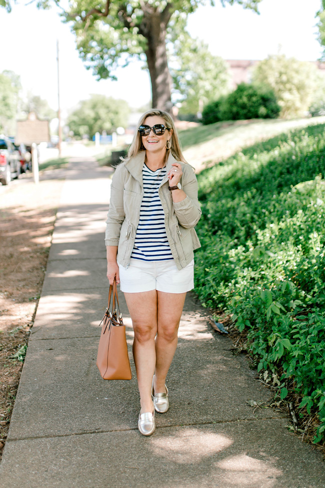 Cute preppy spring outfit with gold loafers.