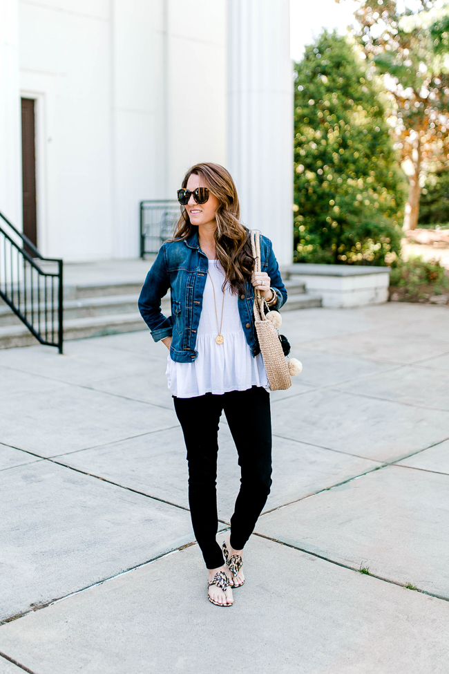 How to style a denim jacket for Spring via Peaches In A Pod blog. This jacket is a must have for Spring.
