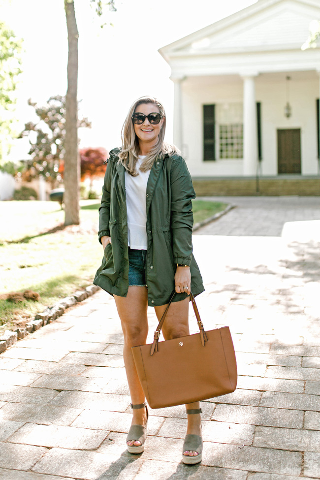 Cute rainy day outfit with jean shorts and an olive green anorak jacket