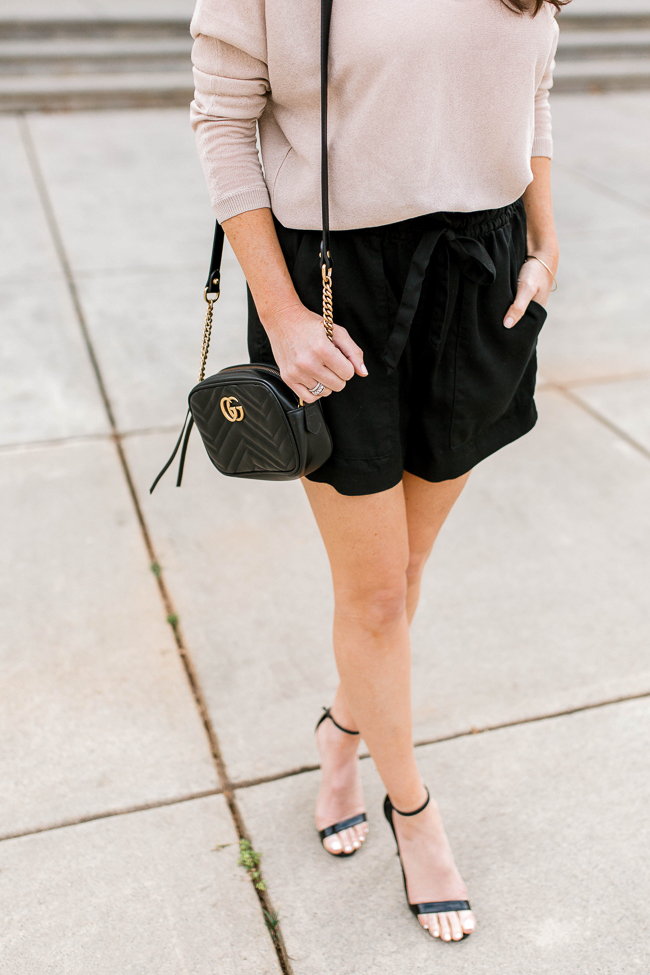 Black leather Gucci bag outfit idea via Peaches In A Pod blog.