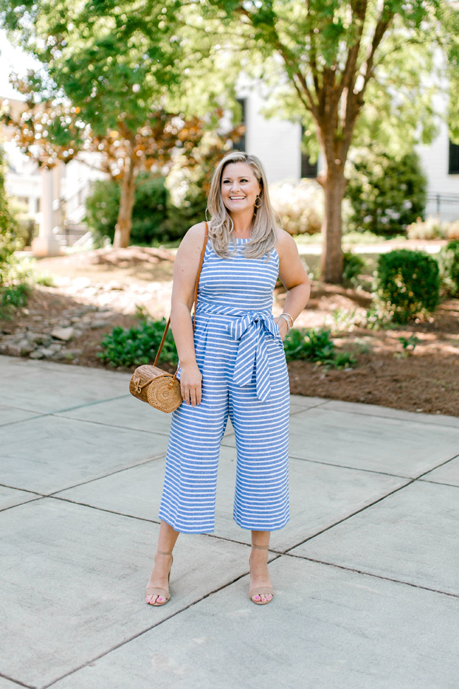 The perfect striped jumpsuit that is great for petites.