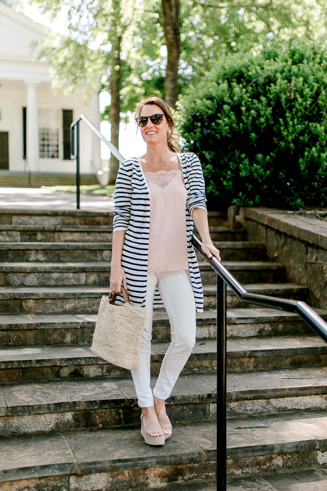 Cute white denim outfit via Peaches In A Pod blog. Great Spring fashion for women.