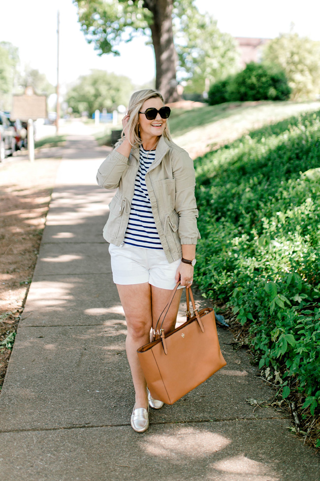 Cute preppy spring outfit with gold loafers