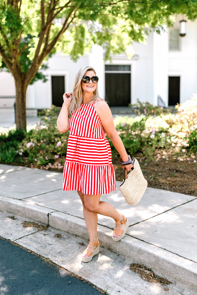 the cutest red and white striped dress that is perfect for Summer. - Petite style