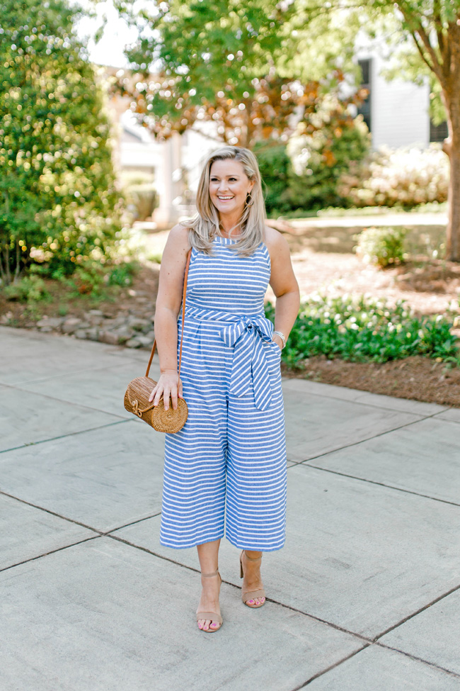 Petite striped jumpsuit that is perfect for any occasion.