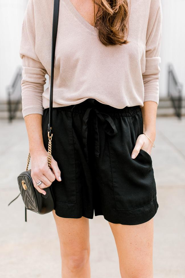 Tie waist shorts outfit idea via Peaches In A Pod blog.