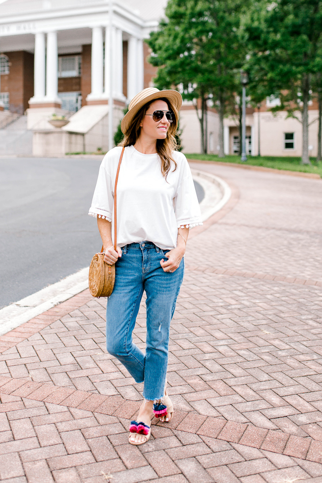 Classic t-shirt and jeans outfit for Summer via Peaches In A Pod blog.