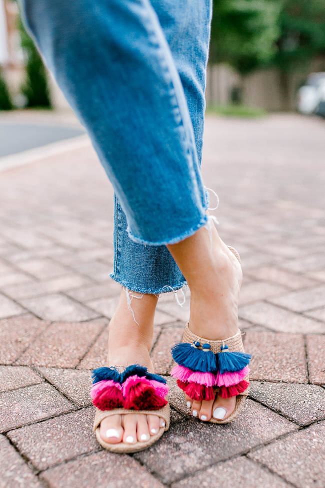 Rafia tassel Sandals for less than $25 via Peaches In A Pod blog.