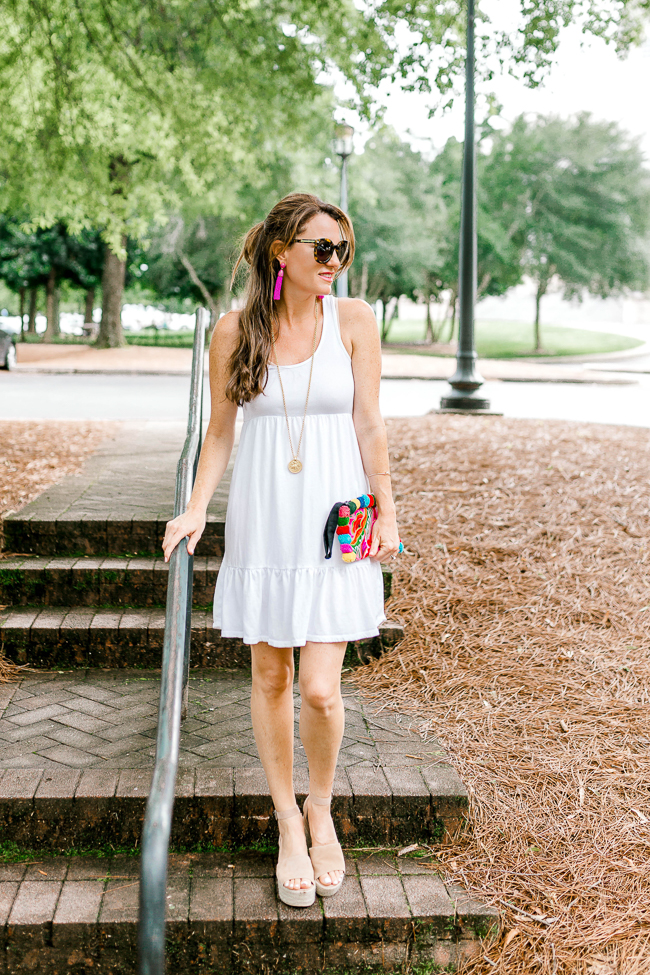 Cute and casual white tank dress for Summer via Peaches In A Pod blog.