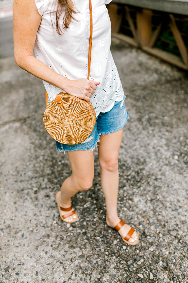 Cute Straw circle tote for Summer via Peaches In A Pod blog.