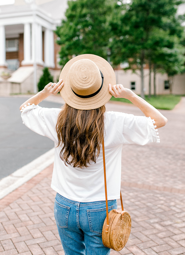Cute Straw hat for summer via Peaches In A Pod blog.