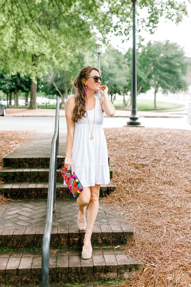 The easiest white dress for Summer is this cute white tank dress. You can dress it up or down. and easily accessorize with fun statement pieces.