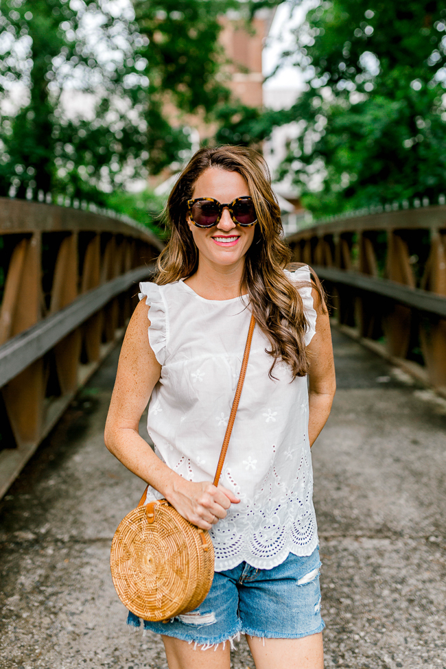 The perfect white eyelet top for Summer via Peaches In A Pod blog.