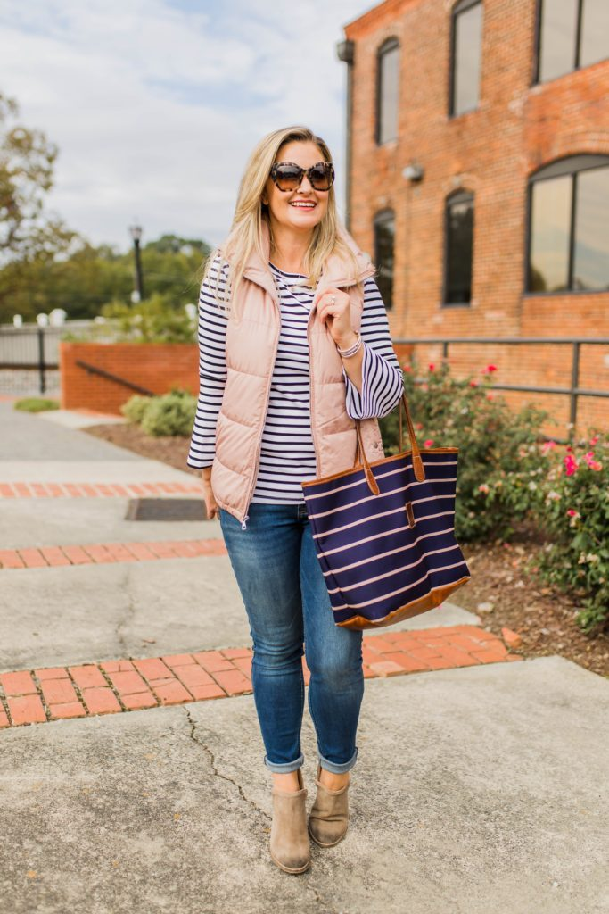 Fall outfit idea - pink vest